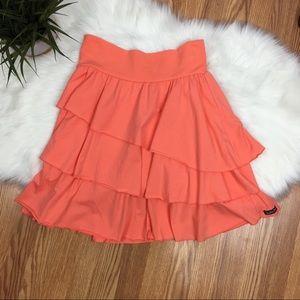 Matilda Jane Blondie Bar Ruffled Orange Skirt Sz L